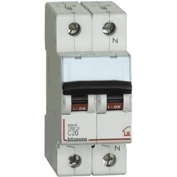 BTicino FC810NC20 Interruttore Magnetotermico, C20 1P+N 2M 4500 A, 20 A
