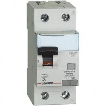 BTicino GC8813AC20 BTDIN Interruttore Magnetotermico Differenziale 1P+N, 4.5 kA, Idn = 0.03A, In = 20 A BTicino