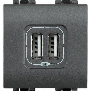 Caricatore USB 2 Posti Serie Civili Bticino LivingLight L4285C2