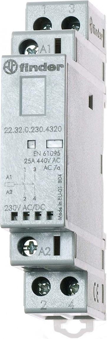Finder 223202304320PAS - Contattore modulare 230 Vac/dc 2 NO 25 A AgSnO2 indicatore meccanico/LED senza selettore